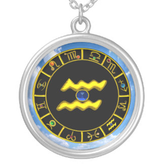 AQUARIUS ZODIAC BIRTHDAY JEWEL  Blue Sapphire Gold Round Pendant Necklace