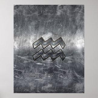 Aquarius Zodiac Distressed Silver Steel Style Poster