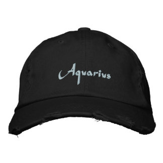 Aquarius Zodiac Embroidered Cap / Hat Embroidered Hats