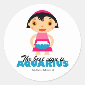 Aquarius Zodiac for kids Classic Round Sticker