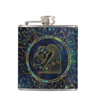 Aquarius Zodiac Gold Abalone on Constellation Hip Flask