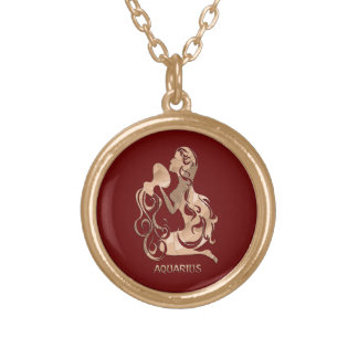 Aquarius Zodiac Gold Plated Necklace