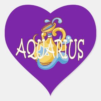 Aquarius zodiac heart sticker