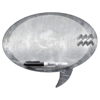 Aquarius Zodiac Industrial Silver Steel Dry-Erase Board