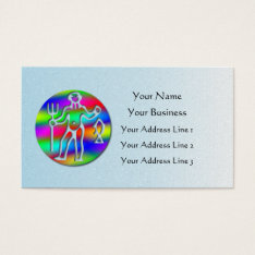 Aquarius Zodiac Low Cost Star Sign Rainbow Blue Business Card at Zazzle
