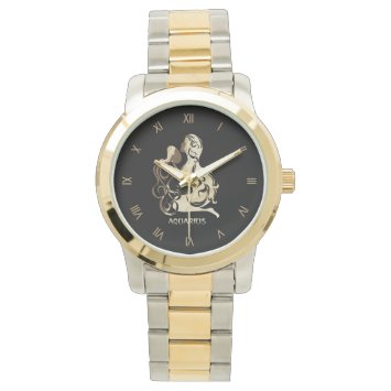 Aquarius Zodiac Roman Numerals Wrist Watch