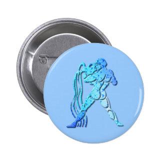 Aquarius Zodiac Round Pin