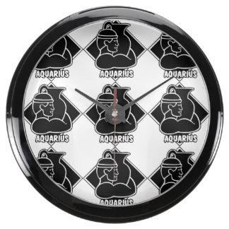 Aquarius Zodiac Sign Astrology Black and White Aquavista Clocks