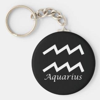 'Aquarius' Zodiac Sign Basic Round Button Keychain