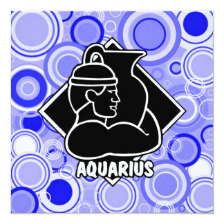 Aquarius Zodiac Sign Blue Circles Retro Style Card