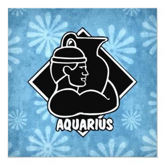 Aquarius Zodiac Sign Blue Retro Daisy Flowers Card