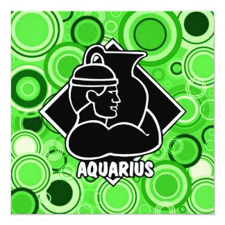 Aquarius Zodiac Sign Bright Green Retro Style Card