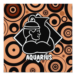 Aquarius Zodiac Sign Brown Circles Retro Style Card