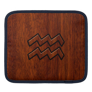 Aquarius Zodiac Sign Brown Mahogany Style Sleeve For iPads