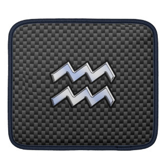 Aquarius Zodiac Sign Carbon Fiber Style iPad Sleeve
