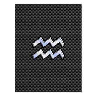 Aquarius Zodiac Sign Carbon Fiber Style Postcard