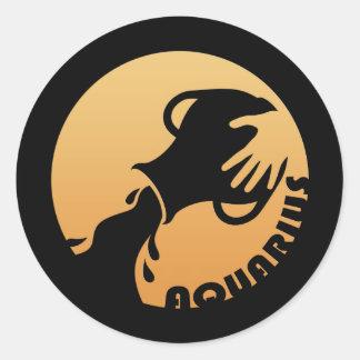 Aquarius Zodiac Sign Classic Round Sticker