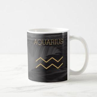 Aquarius Zodiac Sign   Custom Background + Text Coffee Mug