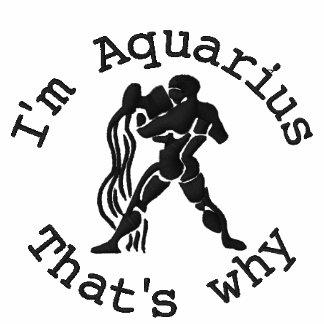 Aquarius Zodiac Sign Embroidery Jan 20 - Feb 18 Embroidered Hoody