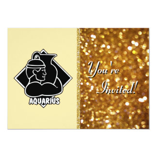 Aquarius Zodiac Sign Girly Girl | Gold Glitter Card