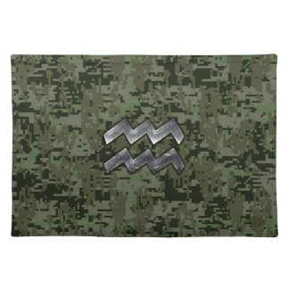 Aquarius Zodiac Sign Green Digital Camouflage Cloth Placemat