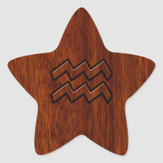 Aquarius Zodiac Sign Mahogany Wood Style Star Sticker