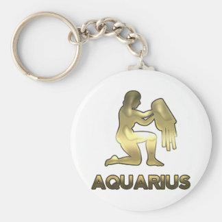 Aquarius zodiac sign - old gold edition keychain