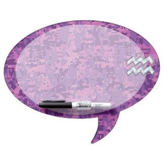Aquarius Zodiac Sign on fuchsia digital camouflage Dry Erase Board