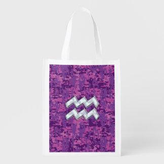Aquarius Zodiac Sign on fuchsia digital camouflage Grocery Bag