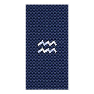 Aquarius Zodiac Sign on navy blue carbon fiber Card