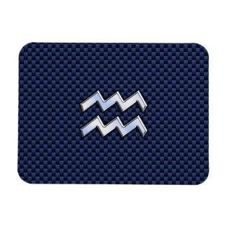 Aquarius Zodiac Sign on navy blue carbon fiber Rectangular Photo Magnet