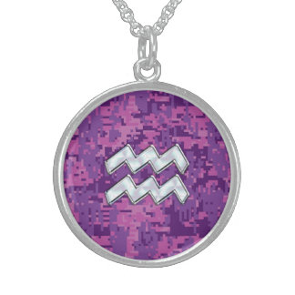 Aquarius Zodiac Sign on Pink Digital Camouflage Sterling Silver Necklace
