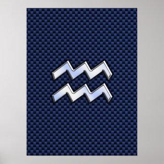 Aquarius Zodiac Sign on Royal Blue Carbon Fiber