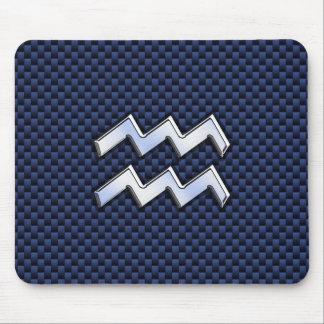 Aquarius Zodiac Sign on Royal Blue Carbon Fiber Mouse Pad