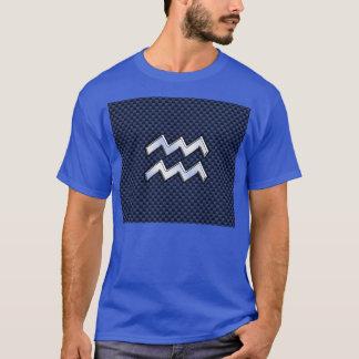Aquarius Zodiac Sign on Royal Blue Carbon Fiber T-Shirt