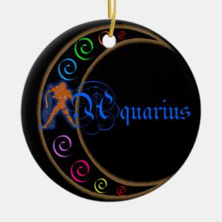 Aquarius Zodiac Sign Double-Sided Ceramic Round Christmas Ornament