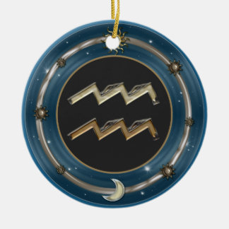 Aquarius Zodiac Sign Christmas Ornaments