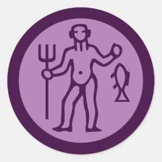 Aquarius Zodiac Sign Purple Classic Round Sticker