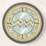 Aquarius Zodiac Sign Sandstone Coaster