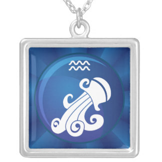 Aquarius Zodiac Sign Silver Plated Necklace