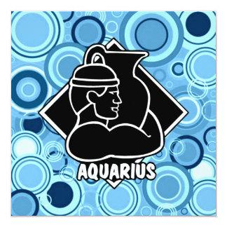 Aquarius Zodiac Sign Sky Blue Circles Retro Style Card