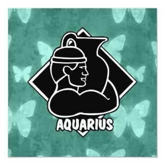 Aquarius Zodiac Sign Teal Butterflies Retro Card