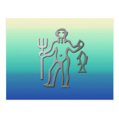 Aquarius Zodiac Star Sign In Light Silver Postcard at Zazzle