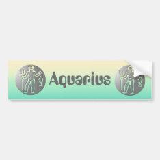 Aquarius Zodiac Star Sign Premium Silver Bumper Sticker at Zazzle