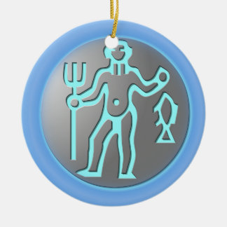 Aquarius Zodiac Star Sign Premium Silver Double-Sided Ceramic Round Christmas Ornament