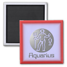 Aquarius Zodiac Star Sign Premium Silver Magnet at Zazzle