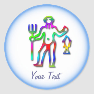 Aquarius Zodiac Star Sign Rainbow Classic Round Sticker