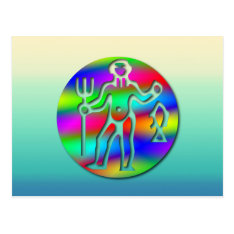 Aquarius Zodiac Star Sign Rainbow Postcard at Zazzle