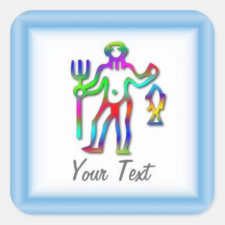 Aquarius Zodiac Star Sign Rainbow Square Sticker