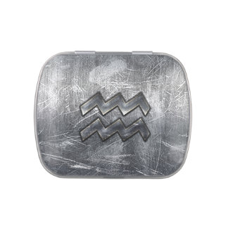Aquarius Zodiac Symbol Distressed Silver Steel Candy Tins